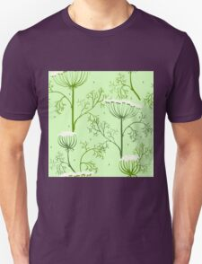 Elegance Seamless pattern with flowers, vector floral illustration in vintage style, Ukraine, dill T-Shirt