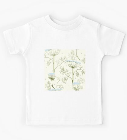Elegance Seamless pattern with flowers, vector floral illustration in vintage style, Ukraine, dill Kids Tee