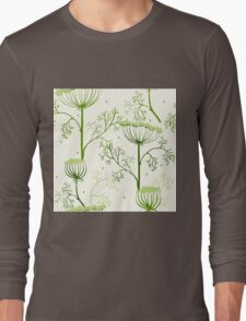 Elegance Seamless pattern with flowers, vector floral illustration in vintage style, Ukraine, dill Long Sleeve T-Shirt