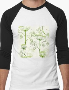 Elegance Seamless pattern with flowers, vector floral illustration in vintage style, Ukraine, dill Men's Baseball ¾ T-Shirt