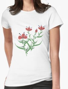 Set of symmetrical floral graphic design elements Womens Fitted T-Shirt