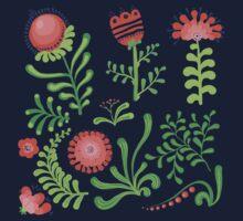 Set of symmetrical floral graphic design elements Kids Tee