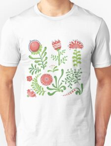 Set of symmetrical floral graphic design elements Unisex T-Shirt