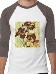 Seamless pattern with decorative  iris flower in retro colors.  Men's Baseball ¾ T-Shirt