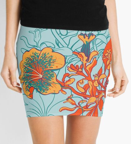 Seamless floral background with peonies Mini Skirt