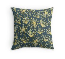 Queen Anne's Lace in Gold on Navy Throw Pillow