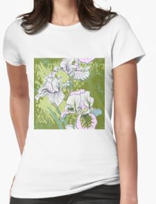 Seamless pattern with decorative  iris flower in retro colors.  Womens Fitted T-Shirt