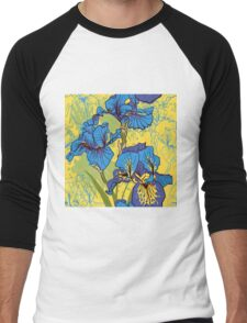 Seamless pattern with decorative  iris flower in retro colors.  Men's Baseball ¾ T-Shirt