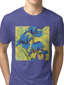 Seamless pattern with decorative  iris flower in retro colors.  Tri-blend T-Shirt