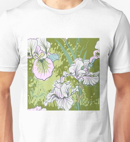 Seamless pattern with decorative  iris flower in retro colors.  Unisex T-Shirt