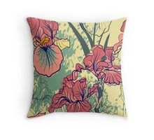SeaSeamless pattern with decorative  iris flower in retro colors. mless pattern with decorative  iris flower in retro colors.  Throw Pillow