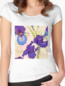 Seamless pattern with decorative  iris flower in retro colors.  Women's Fitted Scoop T-Shirt