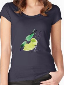 watercolor drawing bird, robin at white background Women's Fitted Scoop T-Shirt