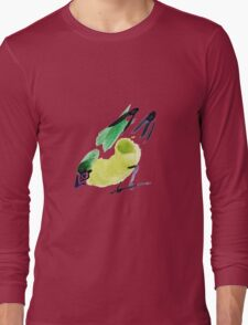 watercolor drawing bird, robin at white background Long Sleeve T-Shirt