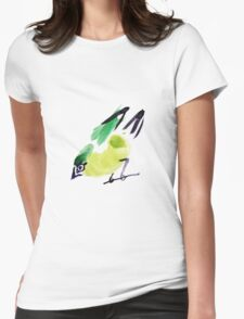 watercolor drawing bird, robin at white background Womens Fitted T-Shirt