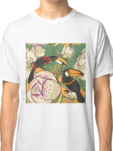 Seamless floral background with peonies bird toucan Classic T-Shirt