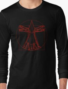 Vitruvian Pyramid Head (Red) Long Sleeve T-Shirt