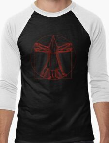 Vitruvian Pyramid Head (Red) Men's Baseball ¾ T-Shirt