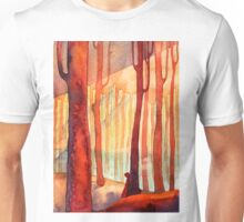 red forest, sunset Unisex T-Shirt