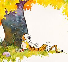 sleeping cute calvin hobbes by KattyAnne