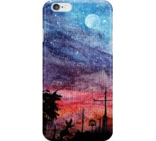Starry Night Watercolor Painting  iPhone Case/Skin