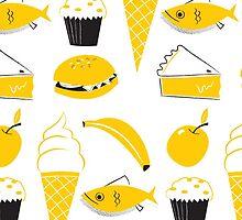 Retro Food Pattern by Ben Sanders