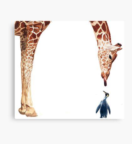 """Licker with Penguin"" Giraffe Watercolor Canvas Print"