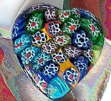 Enamelled Millifiori Heart by Erica Long