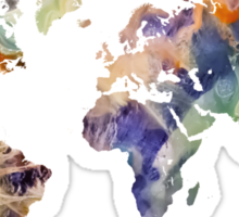 World Map watercolor painting Sticker
