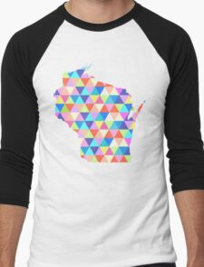 Wisconsin Colorful Hipster Geometric Triangles  Men's Baseball ¾ T-Shirt