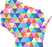 Wisconsin Colorful Hipster Geometric Triangles  by CorrieJacobs