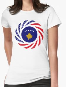 Kosovar American Multinational Patriot Flag Series Womens Fitted T-Shirt