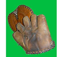 Two Vintage Baseball Mitts Photographic Print