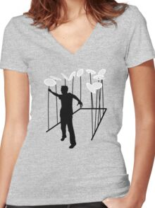 Plate Spinning Women's Fitted V-Neck T-Shirt