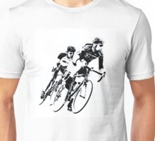 Black & White Cyclists into the Turn Unisex T-Shirt
