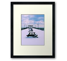 Snow Comes To The Beach Framed Print
