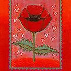 PASSION FOR POPPIES - A GORGEOUS SINGLE RED POPPY with little Hearts by RubaiDesign
