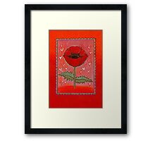PASSION FOR POPPIES - A GORGEOUS SINGLE RED POPPY with little Hearts Framed Print