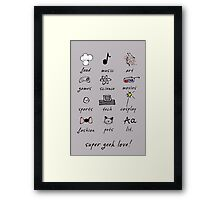 geek love! grey Framed Print