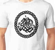 Norse Odin and Sleipnir in Celtic Knot Circle Unisex T-Shirt