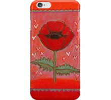 PASSION FOR POPPIES - A GORGEOUS SINGLE RED POPPY with little Hearts iPhone Case/Skin