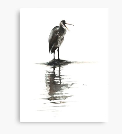Heron Reflecting Canvas Print