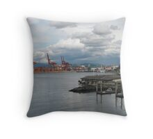 Industry on Water, Vancouver Canada Throw Pillow