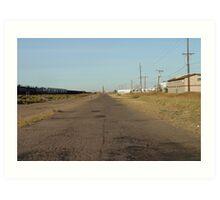 Texas road by train tracks Art Print
