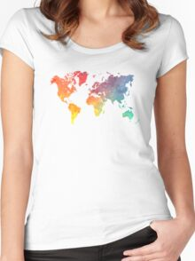Map of the world colored Women's Fitted Scoop T-Shirt