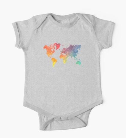 Map of the world colored One Piece - Short Sleeve