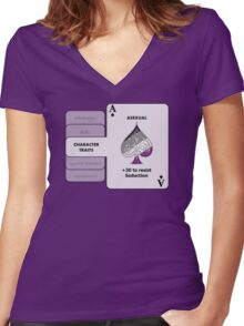 Asexual Character Bonus (Spade Symbol) Women's Fitted V-Neck T-Shirt