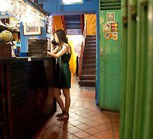 waitress in gladiator sandals by aspenrock