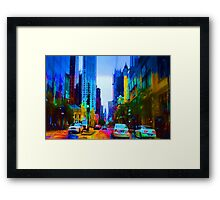 Driving in a Chicago rainbow Framed Print