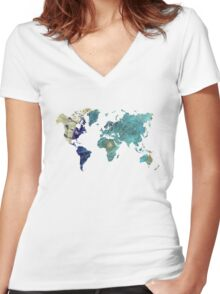 World map wind rose Women's Fitted V-Neck T-Shirt